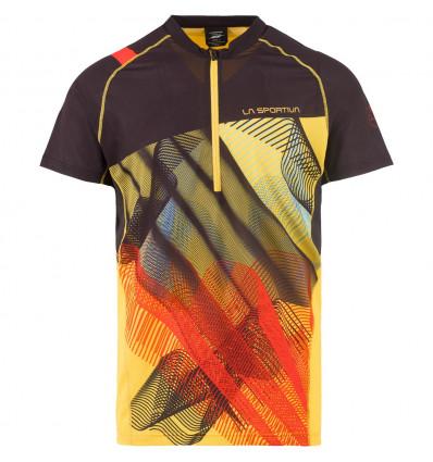 Trail T-shirt trail Xcelerator La Sportiva (Black/Yellow) - AlpinStore